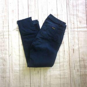 Michael Kors Izzy Skinny mid rise raw hem jeans 4